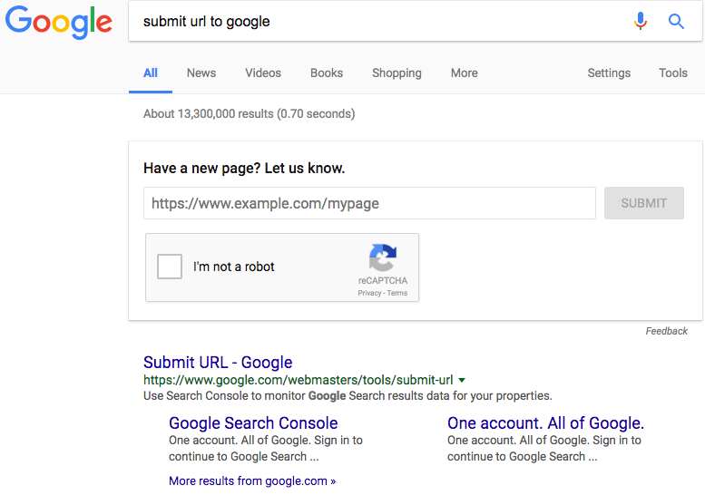 Submit URLs to Google